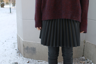 josefin dahlberg blogger pants pleated skirt burgundy sweater winter outfits oversized sweater