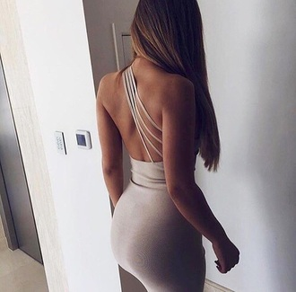dress one shoulder cocktail dress party dress grey dress nude dress beige dress 3 straps bodycon dress