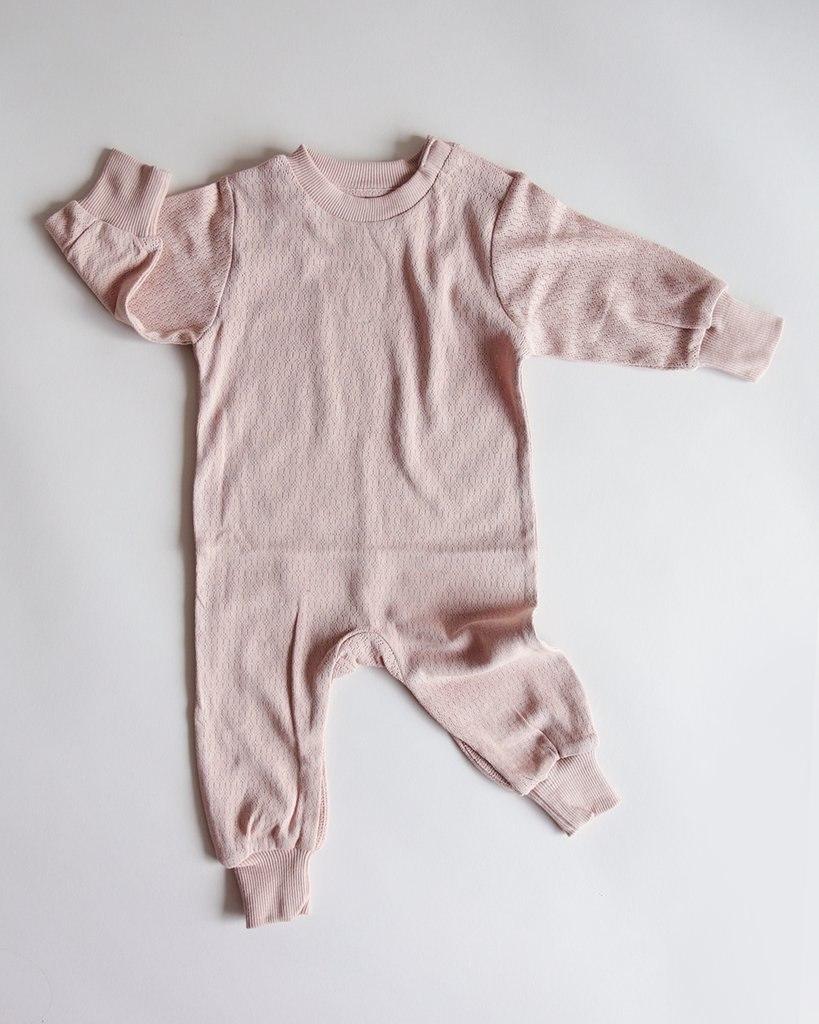 pointelle onesie romper - dusty pink