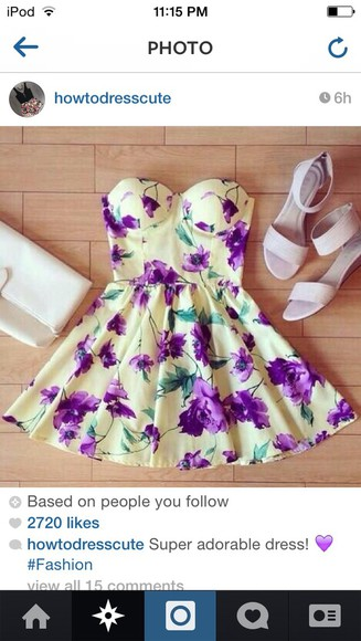 floral dress floral flower dress dress purple green white strapless cute yellow