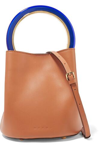 mini tan bag bucket bag leather