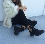 shoes,cut-out,cutoutsides,black coat,boots,combat boots,black booties,ankle boots,fur,fur coat,black jeans,winter swag,winter outfits,women,gorgeous,fashionista,style,stylish,trendy,grunge,cute,tumblr,cool,girl,blogger,streetstyle,streetwear,edgy,soft grunge,instagram,gold buckles,gold buckle leather black boots,clothes,black,gold,on point clothing,jacket,coat,beige fur jacket