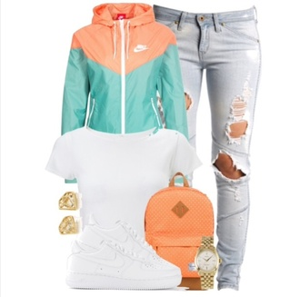 jacket nike sweater windbreaker outfit casual mint orange white jeans nike jacket