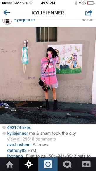 sipper kylie jenner pink dress mesh tshirt dress
