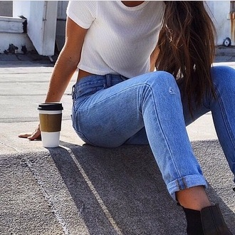 jeans skinny jeans high waisted top
