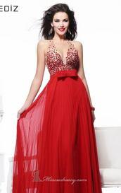 dress,transparent,long red dress,formal,prom dress