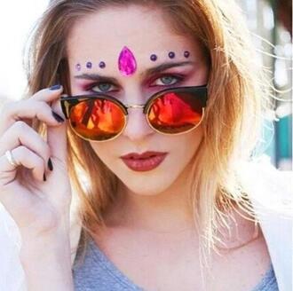 sunglasses mirrored sunglasses round cat eye vintage cat eye round sunglasses