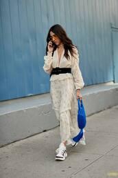 shoes,platform sneakers,maxi skirt,wrap ruffle skirt,plunge v neck,belt,handbag,yellow sunglasses