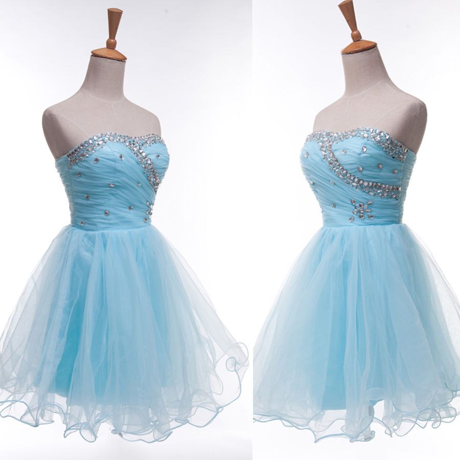 Baby blue homecoming dresses, short homecoming dresses, organza homecoming dress, lace up beading blue homecoming dress 5282