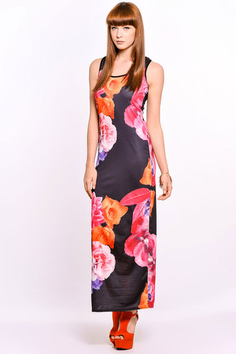 Womens Teagan Photo Floral Maxi Dress in Pink | Pop Couture