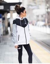 jacket,nike,windbreaker,black and white,black grey and white,coat,adidas,nikes sportswear,sportswear,white,clothes,weheartit,nike jacket,nike sportswear,top,outfit,outfit idea,nice,beautiful