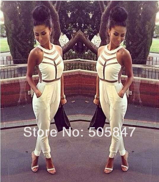 Fashion Net yarn splicing halter Jumpsuit Sexy women bandage dress Milenka Mesh Panel Jumpsuit  White Black S M LFree shipping-in Jumpsuits & Rompers from Apparel & Accessories on Aliexpress.com