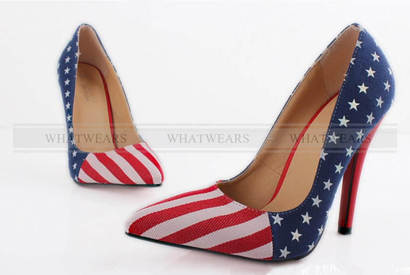 Women's Platform Stiletto High Heel Pumps Pointed American Flag Design A2032 GRS | eBay