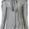 Zac posen pussy bow blouse, women's, size: 4, grey, silk