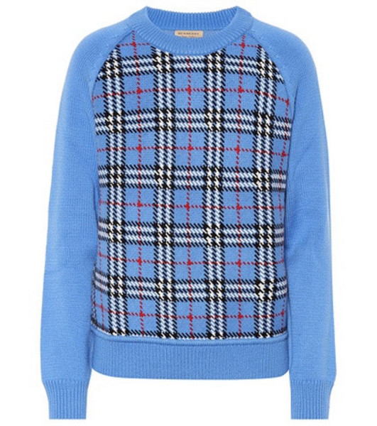 Burberry Checked wool jacquard sweater in blue