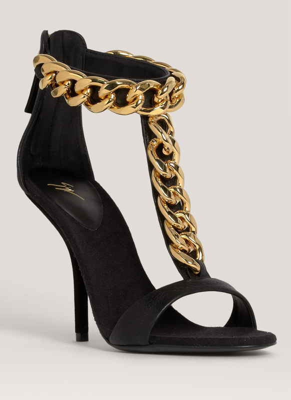 Zanotti Gold Chain Alien 115 Black Leather Heel Sandals Cheap