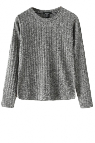 Plain round neck long sleeve sweater in ribbed knit