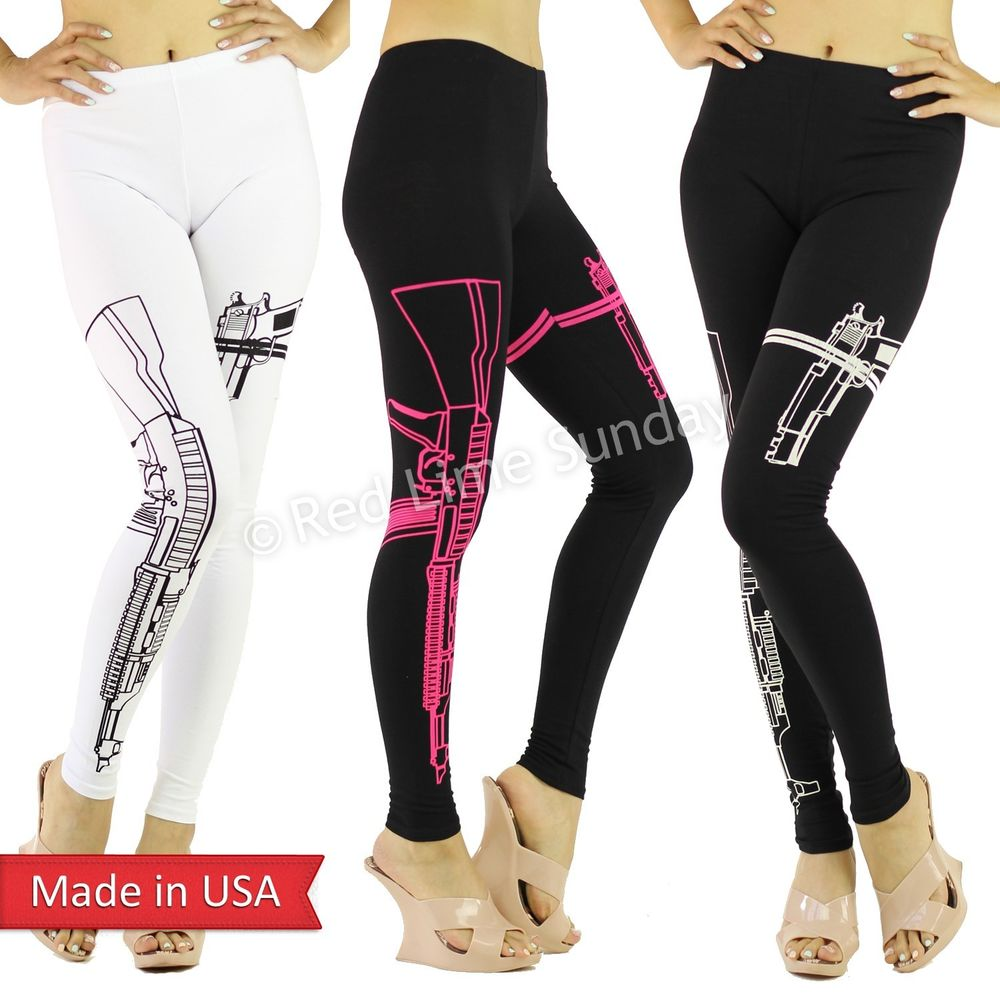 Women new machine gun firearm pistol print black white soft leggings pants usa