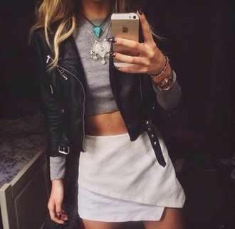 skirt top jacket black leather jacket grey top leather jacket white skirt edgy edgy skirt bold leather skirt crop tops long sleeves white high waisted skirt black skorts girl grey crop top envelope skirt wrap skirts style rinstone sweater jewels short mini asmetrical black jacket leather pants shirt