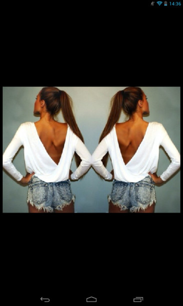 blouse white backless long sleeves chiffon