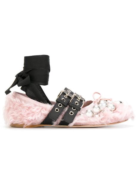 Miu Miu women leather purple pink shoes