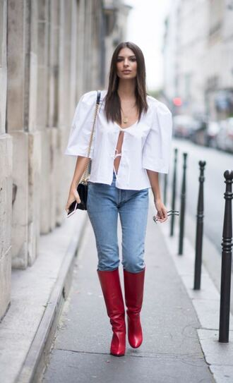 blouse white white top fall outfits red boots emily ratajkowski model off-duty streetstyle paris fashion week 2017 boots jeans shoes