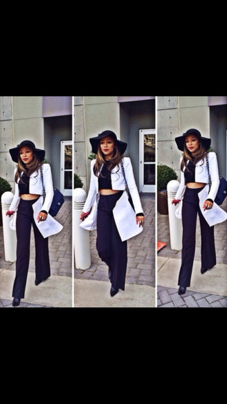 fashion style crop tops black and white instafashion swag blackbarbie trendsetter hat floppy hat white blazer haute couture high waisted pants black pumps summer spring 2014 trending now chanel bag chain purse chanel chanel bag vintage vintage yachting dress