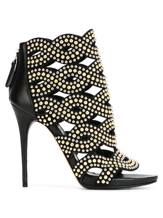 studded booties black shoes