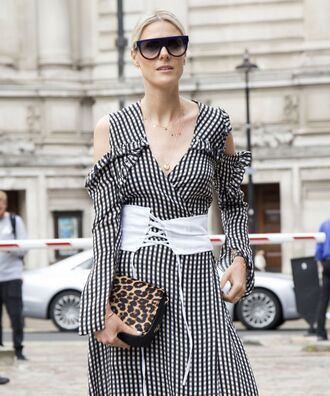 belt corset corset belt lace up dress gingham long sleeves long sleeve dress printed dress bag leopard print sunglasses black sunglasses cut-out cut out shoulder