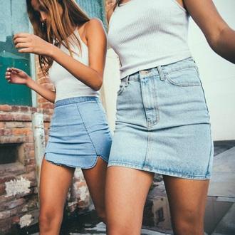 skirt fashion teenagers denim blue summer summer skirt fashion inspo instagram brandy melville mini skirt dip hem curved hem