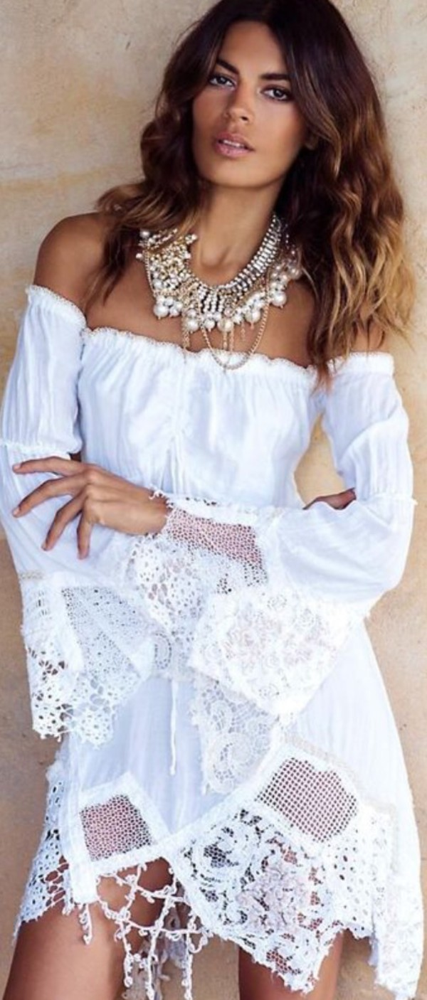 dress boho dress white dress lace dress off the