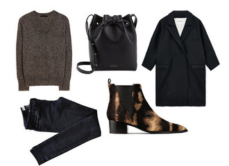 so in carmel blogger jeans bucket bag black coat boyfriend coat chelsea boots coat sweater shoes bag