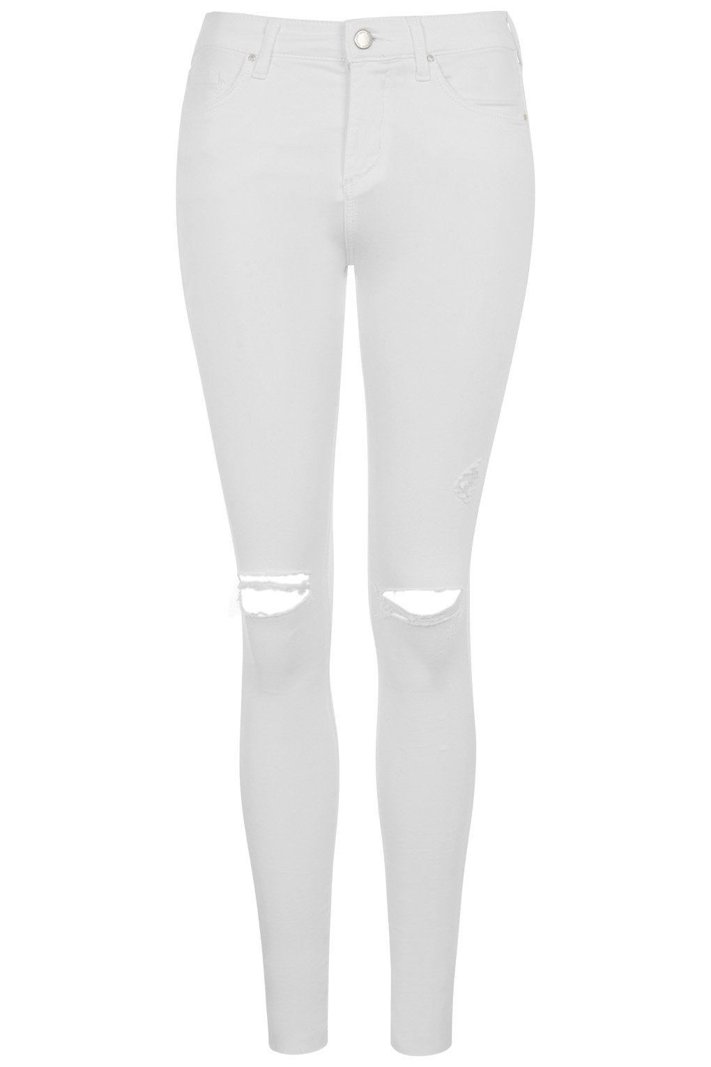 Moto white ripped leigh jeans