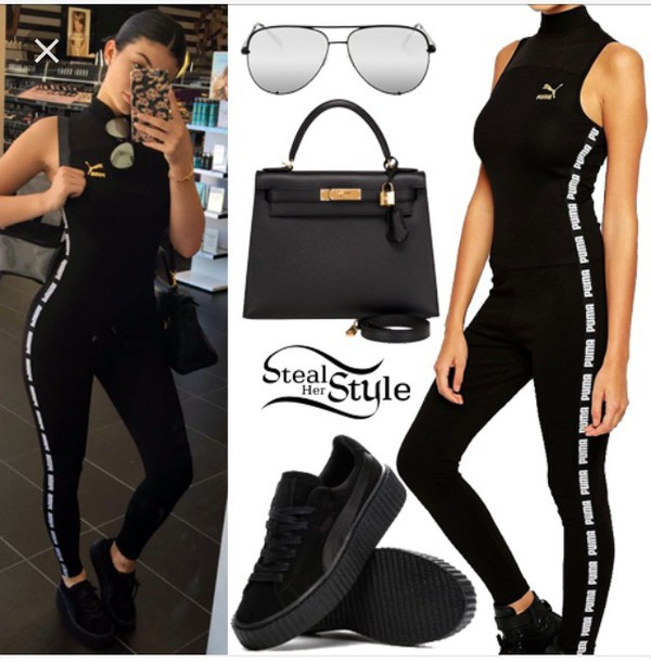 pants jumpsuit puma kylie jenner black jumpsuit