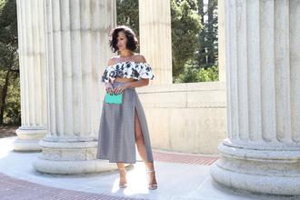 ktr style blogger off the shoulder crop tops slit skirt striped skirt