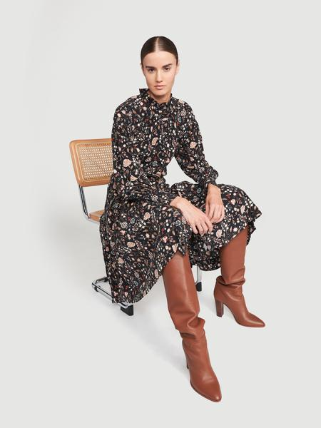 Silk Ruffle Front Dress Noir Multi