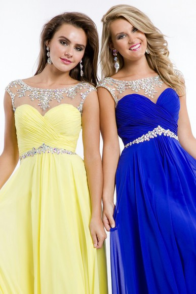 prom dress beading dress chiffon dress yellow dress blue dress sheer neckline dress rhinestones dress sleeveless dress sheer