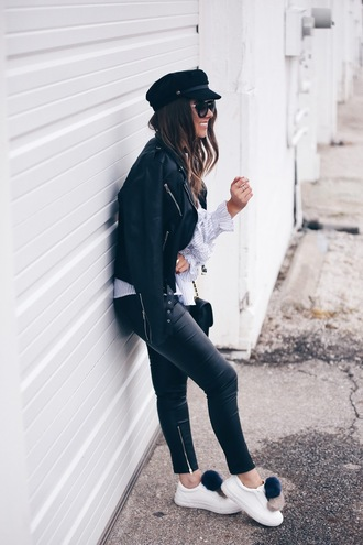 fashionably kay blogger top jacket leggings shoes sunglasses bag fisherman cap pom pom sneakers sneakers leather pants ruffled top black leather jacket