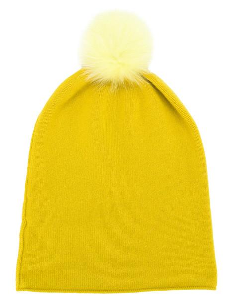 beanie pom pom beanie yellow orange hat