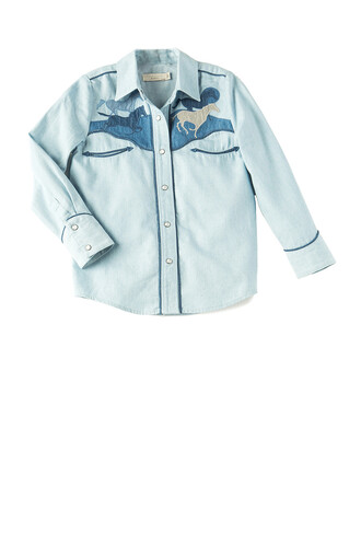shirt embroidered horse blue top