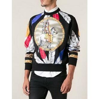 sweater justnologo.com print top floral print top floral print jacket colorful prints feather print top menswear hipster menswear black sweater