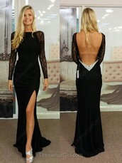 dress,open back,elegant,gown,formal,black,long sleeves,slit dress,dressofgirl