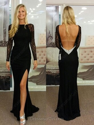 dress open back elegant gown formal black long sleeves slit dress dressofgirl
