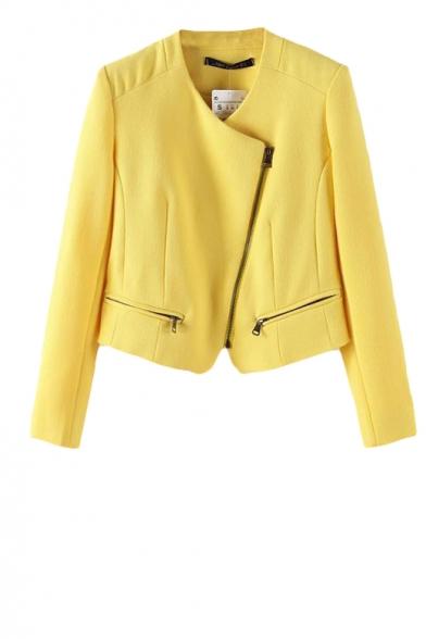 Solid zipper detail long sleeve cotton blend coat