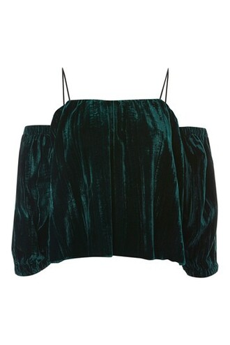 top strappy dark velvet green