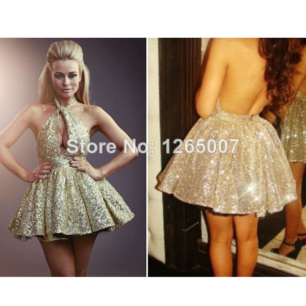 Aliexpress.com : Buy New Arrival Halter Sparkly Skater Dress Mini Short Shiny Puffy A Line Golden Sequins Homecoming Dress For Party Dresses Gowns from Reliable dresses dress suppliers on SFBridal