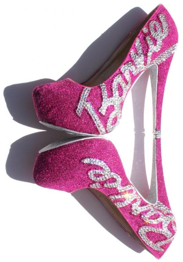 Barbie Heels With Swarovski Crystals On Pink By