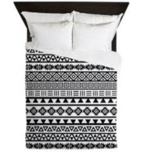 aztec pattern black and white pajamas monochrome print bed linen bed cover bedding