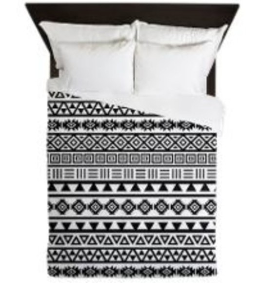 black and white pajamas monochrome print bed linen bedding pattern bed cover aztec