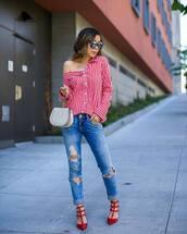 shirt,tumblr,red shirt,off the shoulder,off the shoulder top,denim,jeans,blue jeans,ripped jeans,sandals,red sandals,bag,sunglasses,shoes